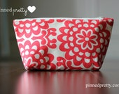 Medium Makeup and Cosmetic Bag in Lotus Wall Flower Cherry by Amy Butler