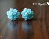 Aqua Blue Rose 14 mm Cabochon Resin Stud Earrings