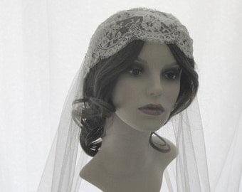 Couture bridal cap veil -1920s wedding  veil - Lady Alice