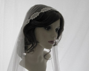 Couture bridal cap veil -1920s wedding  veil - Lady Madeleine