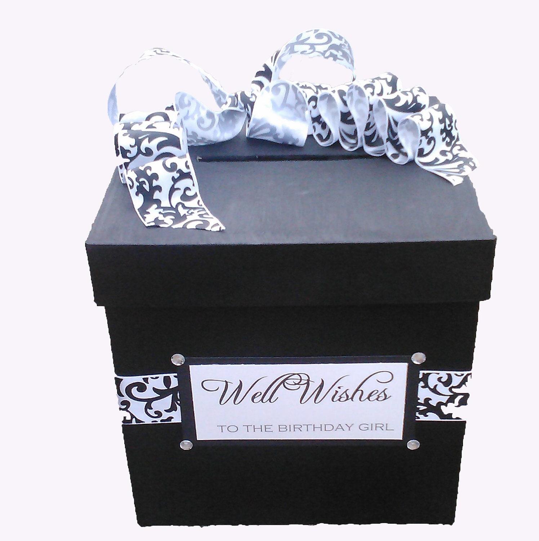 Birthday Cards Box ~ Black and white well wishes birthday wedding card box