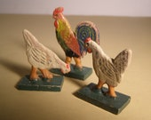 Vintage 1920s 1 Rooster and 2 Chickens from Erzgebirge Region of Germany. Hand carved. Hand painted. Primitive German Folk Art.