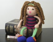 CROCHET PATTERN - Brunette Curly Haired Doll Plush Amigurumi Curls Hair Stuffed Toy Baby Girl tutorial PDF