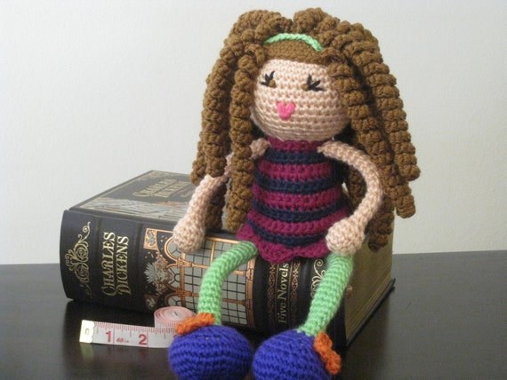 Crochet Hair Curl Patterns : CROCHET PATTERN - Brunette Curly Haired Doll Plush Amigurumi Curls ...