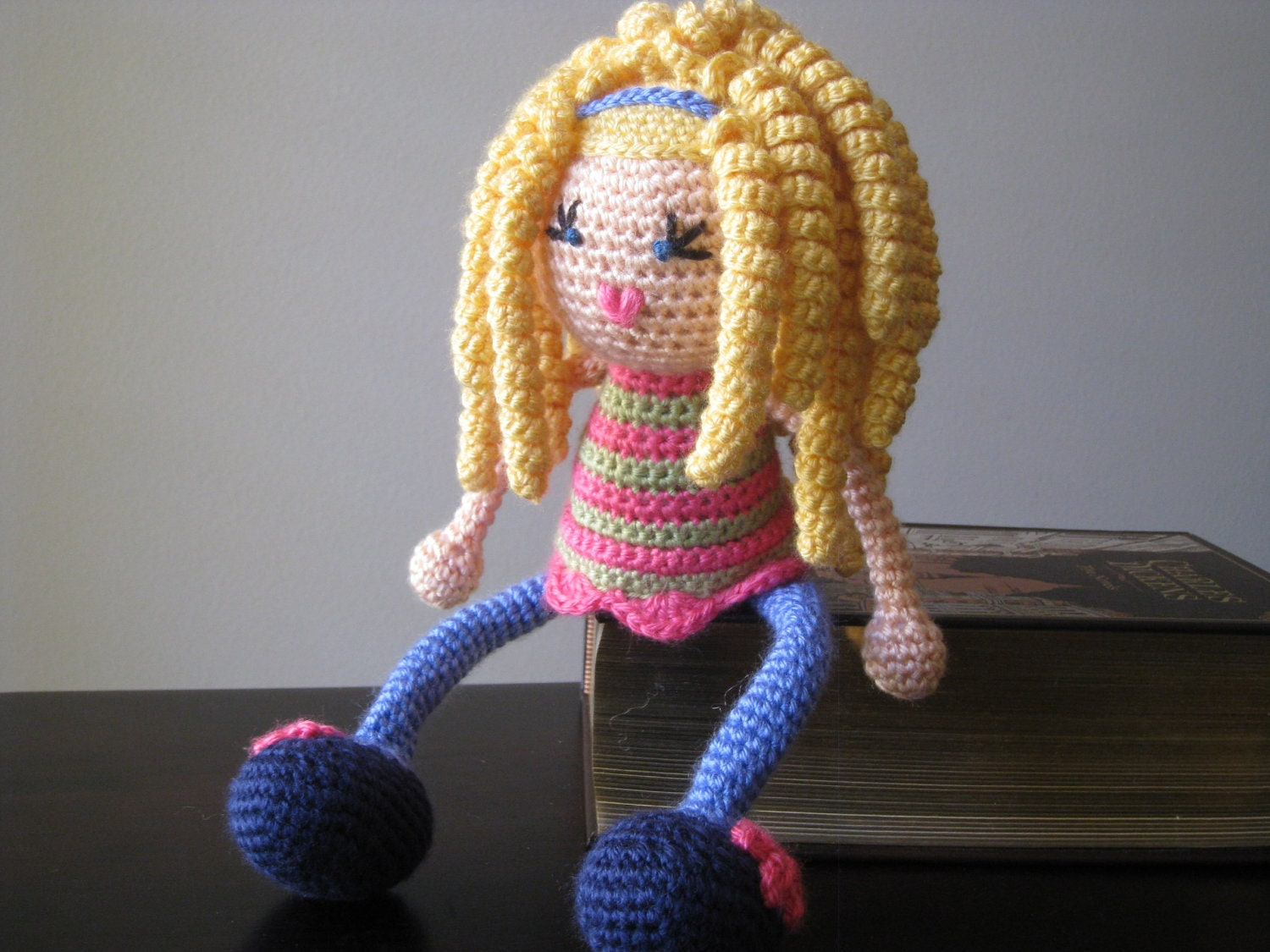 Crochet Hair On Dolls : CROCHET PATTERN Blond Curly Haired Doll Plush by LeenGreenBean