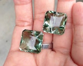 one pair green amethyst drilled top 14x14 mm