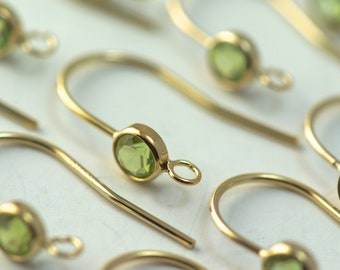 Set of 1 pairs 4.0 mm genuine peridot french wire with 14k gold filled