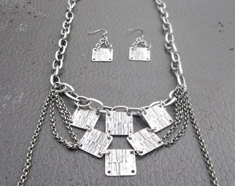 Curb Chain Statement Necklace and Earrings Set - Gun Metal Gray
