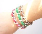 Bracelet -  leather and metal chain