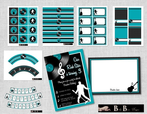 Rock & Roll Music Birthday Party Pack- Party Supplies