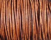50 Meter Spool (54.7 Yards) 1.5mm Distressed Light Brown Genuine Leather Round Cord Natural Dye