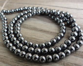 Hemalyke (Manmade Hematite) Beads - 4mm round - full strand