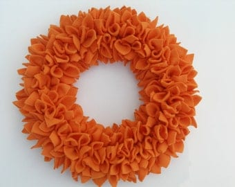 Fall Wreath - Autumn Wreath - Orange Wreath - Fleece Wreath - Door Wreath - Pumpkin Wreath - Rag Wreath - Halloween Wreath