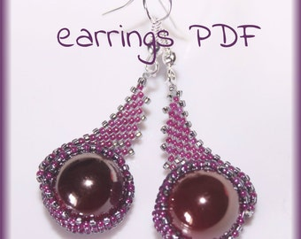 Beaded Bezel earrings beading pattern tutorial PDF