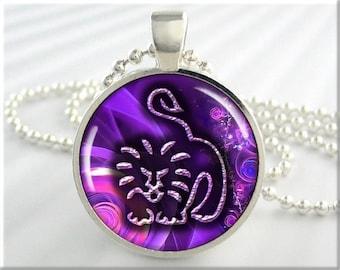 Zodiac Leo Necklace Pendant  Astrological Sign Leo The Lion Jewelry Purple Necklace Art Pendant (321RS)