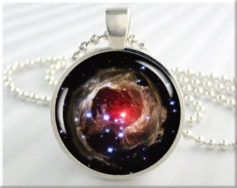 Star Cluster Pendant, Picture Necklace, Monocerotis Red Star Cluster, Resin Space Jewelry, Space Geek Gift, Hubble Photo Pendant (335RS)