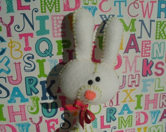 Cute White and Pink Bunny Rabbit Plush Softie Stuffed Animal Plushie Gift Easter Ooak Soft