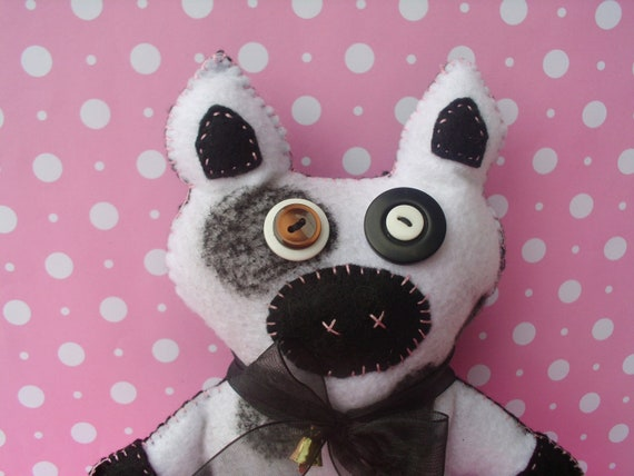 Plush White and Black Cow Softie Soft Plushie Art Doll Stuffed Animal Farm Animal Ooak