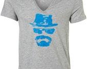 Heisenberg T-Shirt Breaking Bad Walter White Bryan Cranston AMC Hit TV Show Hand Drawn Pulled Silkscreen