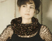 Hand Knit Cowl Chunky Knit Black Shimmery Scarves for Women