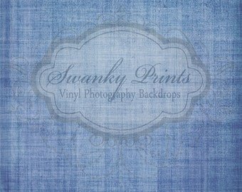 6ft x 6ft Vinyl Photography backdrop / Blue Linen Grunge Texture