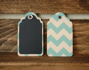 Chalkboard Wine Glass Tags / Gift Tags / Labeling Tags- 20 tags- Aqua Chevron
