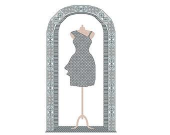 Little Black Dress cross stitch & blackwork chart nr115, party dress, cocktail dress