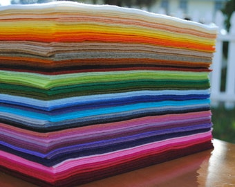"6"" x 9"" Wool Blend, Felt Sheets, 12 pieces, Your Choice of Colors"