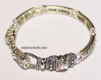 The SERENITY PRAYER Inscripted on Silver BANGLE style bracelet  with Swarovski Aurora Borealis crystals