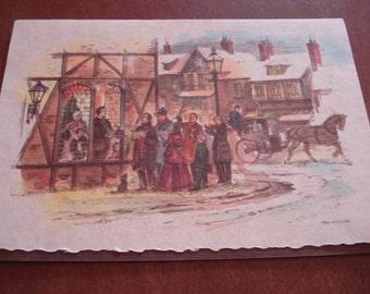 Turn Of Century Christmas Card, Singing Carols, Vintage