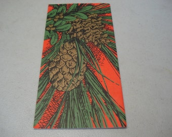 Vintage Christmas Card Tree Pine Cone Red