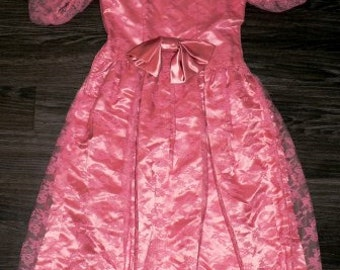 vintage dress ... BIG BOW Party Princess Vintage oh so PINK Sweet ..