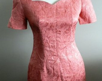 vintage party dress ... Peach Rose BROCADE fitting MAD MEN Office vintage Dress Nostalgia  ...