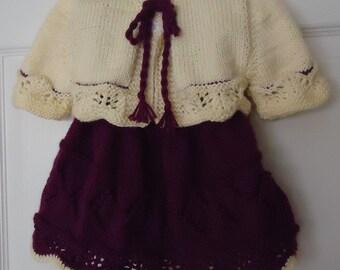 Hand knitted baby dress with Bolero