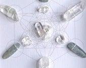 Crystal Grid -- IN THE VORTEX  -- framed -- kyanite, clear quartz