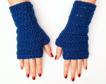 Blue Fingerless Half Glove Womens Wristwarmers Winter Accessories