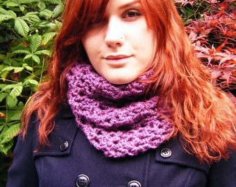 Purple Plum Cowl Crochet Neckwarmer Circle Scarf
