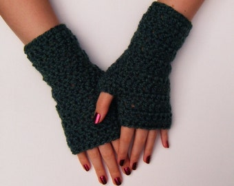 Green Wristwarmers Chunky Crochet Fingerless Winter Fashion Gloves