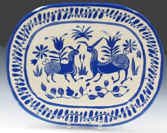 Handmade Ceramic PLATTER - SGRAFFITO Carved OTOMI Animals - Fabulous Fantasy Animals & Flowers - Folk Art Hand Built - Mexican Inspired
