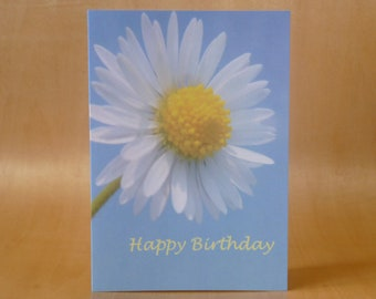 Daisy and Blue Sky Happy Birthday Photographic Image Card.  Printed on semi- gloss card. A6 size. Blank.