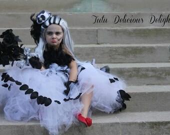 Bride Of Frankenstein Black and White Tutu Dress, Flower Girl Dress, Pageant Dress, Kids Birthday Tutus, Kids Photo Props