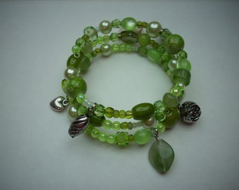 Memory wire wrapped bracelet  softgreen
