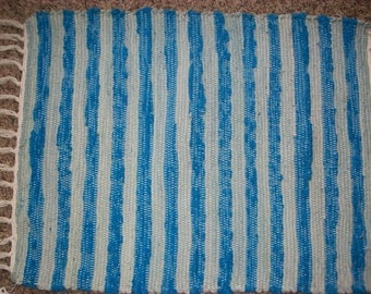 Blue striped  woven upcycled chenille rag rug  south dakota made