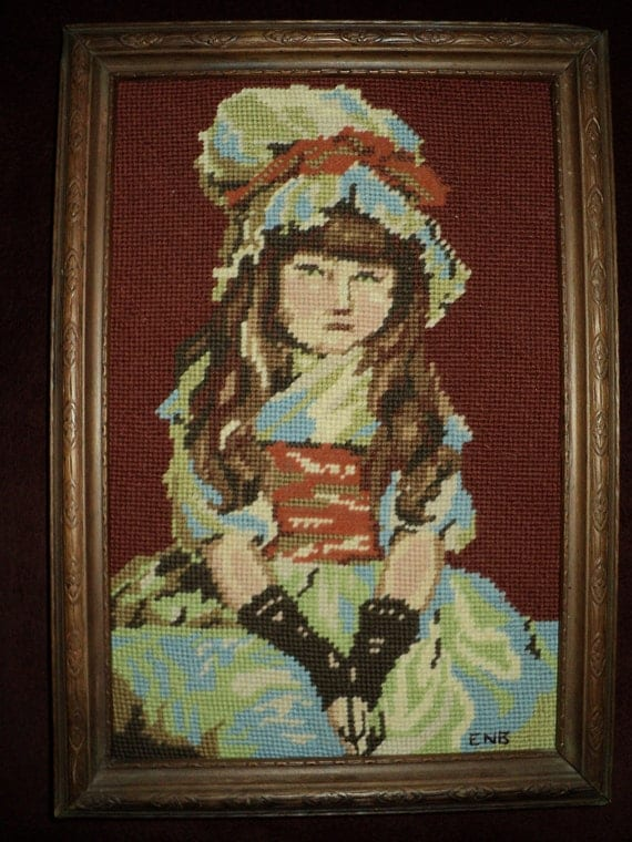 Sorry faced Little Girl  FRENCH NEEDLEPOINT TAPESTRY, Ornately Wooden Framed  Portrait  of a Young French Girl with Green Eyes