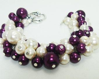 Ivory and Burgundy Cluster Bracelet, Ivory Bridal Pearl Bracelet, Wedding Chunky Bracelet, Plum Bridesmaids Bracelet, Plum Chunky Bracelet.