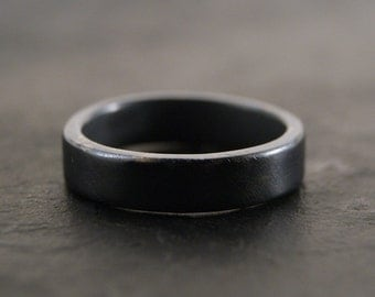 Everyday Ring - Sterling Silver Band in Dark Oxidized Patina, Comfort Fit, 5mm x 2mm Wide Band