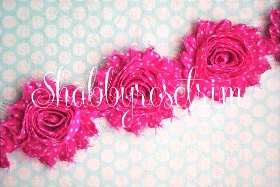 1/2 Yard Pink Chiffon Flower POLKA DOT Rose Trim