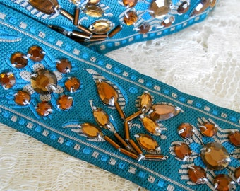 Turquoise Beaded Floral Trim