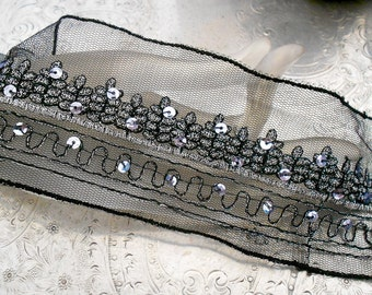 Black and Silver Stitched Sequined Trim