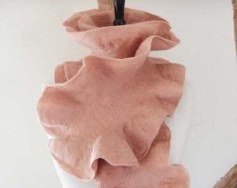 Felted Scarf Ruffle Collar Felt Ruffle Scarf Neck Warmer blush Super Soft Fashion Scarves - Gift for her under 45